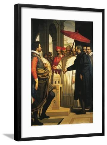 Michelangelo Presenting the Model for the Completion of St Peter's to Pope Pius IV, 1618-1619-Domenico Cresti-Framed Art Print