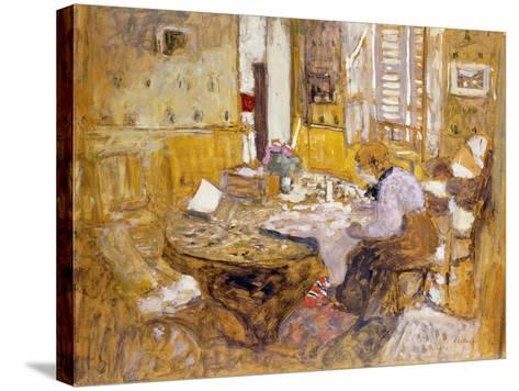 Madame Vuillard Reading in the Dining Room-Edouard Vuillard-Stretched Canvas Print