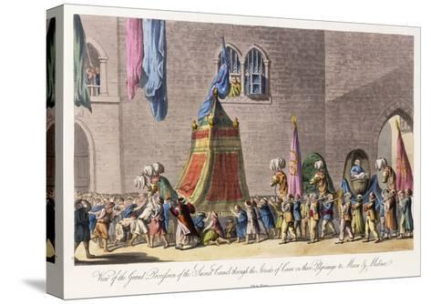 View of the Grand Procession of the Sacred Camel Through the Streets of Cairo-Cooper Willyams-Stretched Canvas Print