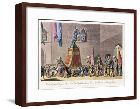 View of the Grand Procession of the Sacred Camel Through the Streets of Cairo-Cooper Willyams-Framed Art Print