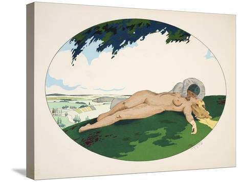 Les Cinq Sens - L'Ouïe, La Vue, L'Odorat, Le Toucher Et Le Goût, Pub. Paris, 1925-Ettore Tito-Stretched Canvas Print