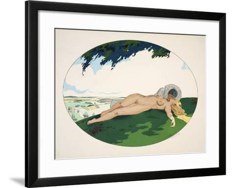 Les Cinq Sens - L'Ouïe, La Vue, L'Odorat, Le Toucher Et Le Goût, Pub. Paris, 1925-Ettore Tito-Framed Art Print
