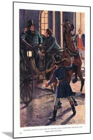 Nicholas, Blind to All Sense of Danger, Still Maintained His Place and Hold Upon the Reins-Charles Edmund Brock-Mounted Giclee Print