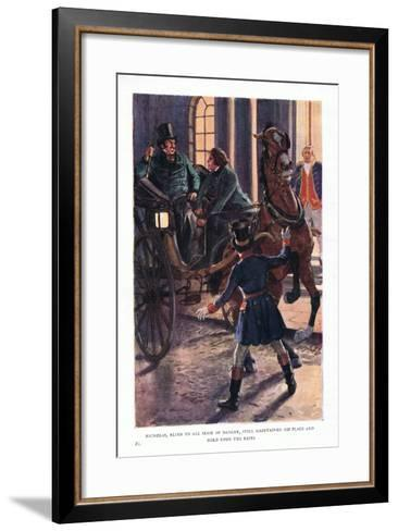 Nicholas, Blind to All Sense of Danger, Still Maintained His Place and Hold Upon the Reins-Charles Edmund Brock-Framed Art Print