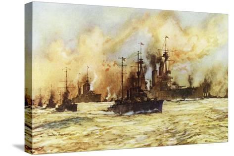 The Battlecruiser Indomitable Towing the Wounded Battlecruiser Lion after the Battle of Dogger Bank-Charles Edward Dixon-Stretched Canvas Print