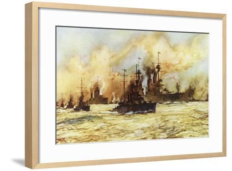 The Battlecruiser Indomitable Towing the Wounded Battlecruiser Lion after the Battle of Dogger Bank-Charles Edward Dixon-Framed Art Print