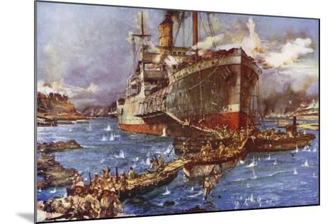 The Landing of Troops from the River Clyde at V Beach, Gallipoli Peninsula, Turkey, 25 April 1915-Charles Edward Dixon-Mounted Giclee Print