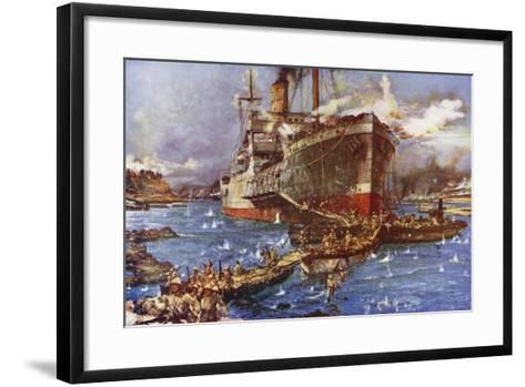 The Landing of Troops from the River Clyde at V Beach, Gallipoli Peninsula, Turkey, 25 April 1915-Charles Edward Dixon-Framed Art Print