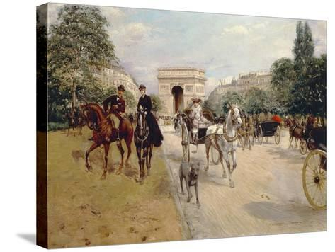 Riders and Coaches on Bois De Boulogne Avenue in Paris with the Arc De Triomphe in the Background-Georges Stein-Stretched Canvas Print