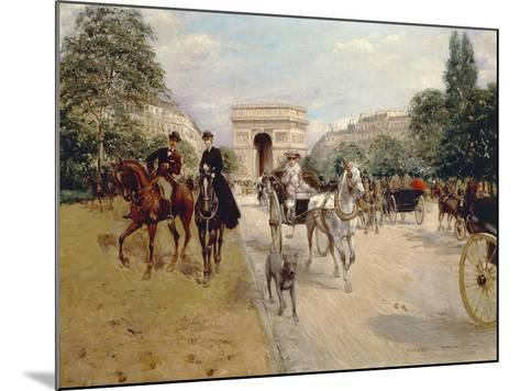 Riders and Coaches on Bois De Boulogne Avenue in Paris with the Arc De Triomphe in the Background-Georges Stein-Mounted Giclee Print