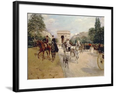 Riders and Coaches on Bois De Boulogne Avenue in Paris with the Arc De Triomphe in the Background-Georges Stein-Framed Art Print