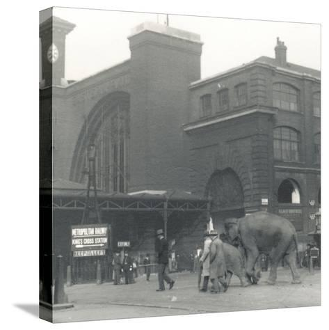 Elephants Walking from the Docks Passing Kings Cross Station on the Way to Zsl London Zoo-Frederick William Bond-Stretched Canvas Print