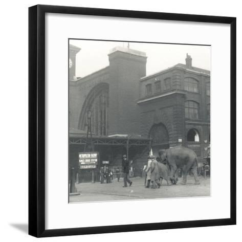 Elephants Walking from the Docks Passing Kings Cross Station on the Way to Zsl London Zoo-Frederick William Bond-Framed Art Print