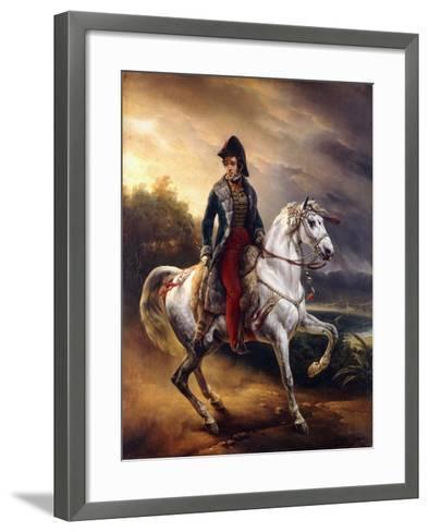 Portrait of Justo Machado Y Salcedo, Spanish Consul in Paris on Horseback, 1821-Horace Vernet-Framed Art Print