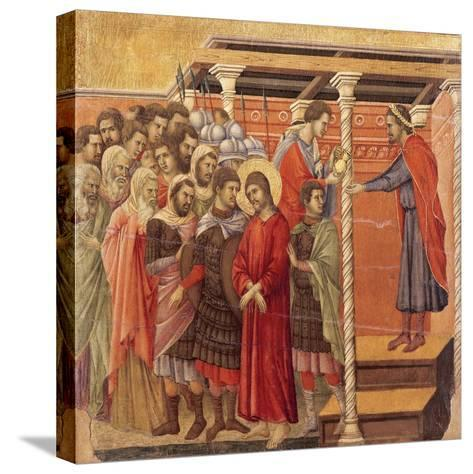 Pilate Washing His Hands, Detail from Episodes from Christ's Passion and Resurrection-Duccio Di buoninsegna-Stretched Canvas Print