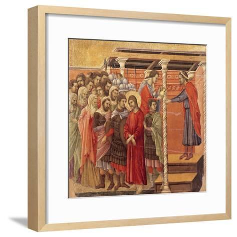 Pilate Washing His Hands, Detail from Episodes from Christ's Passion and Resurrection-Duccio Di buoninsegna-Framed Art Print