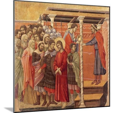 Pilate Washing His Hands, Detail from Episodes from Christ's Passion and Resurrection-Duccio Di buoninsegna-Mounted Giclee Print