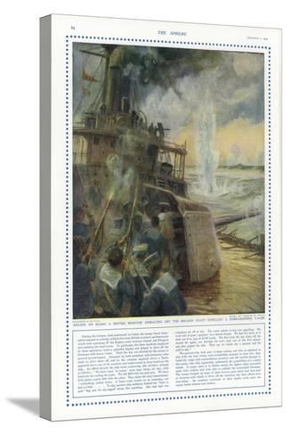 Sailors on Board a British Monitor Off the Belgian Coast-Charles William Wyllie-Stretched Canvas Print