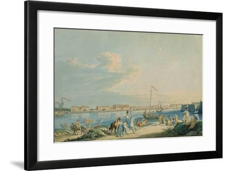 View of the Marble Palace and the North Side of the Peter and Paul Fortress, St. Petersburg-Christian Gottlob Hammer-Framed Art Print