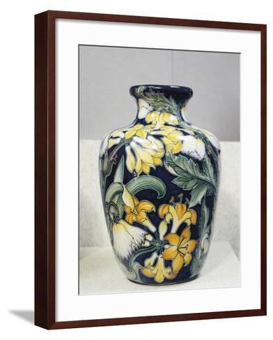 Vase with Floral Decorations, Symbolist Design Inspired by English Models-Galileo Chini-Framed Art Print