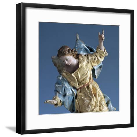 Angel Visiting Saint Joseph in Dream, Painted Terracotta Nativity Figurine-Francisco Salzillo Y Alcazar-Framed Art Print