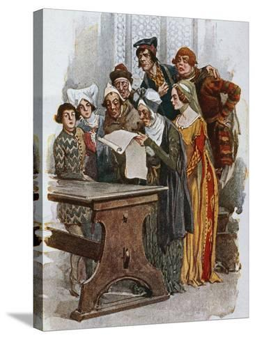 Print Depicting a Scene from Gianni Schicchi, 1922-Giacomo Puccini-Stretched Canvas Print