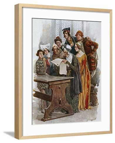 Print Depicting a Scene from Gianni Schicchi, 1922-Giacomo Puccini-Framed Art Print