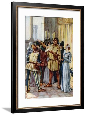Vintage Picture Card Depicting Scene from the Opera Gianni Schicchi, 1918-Giacomo Puccini-Framed Art Print