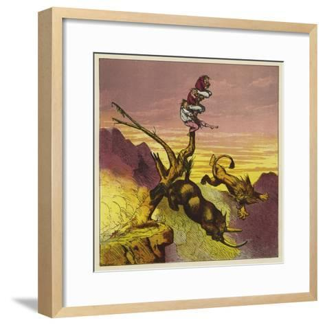 The Lion and Rhinoceros Fall over the Cliff While Arguing over Who Gets the First Bite-Ernest Henry Griset-Framed Art Print