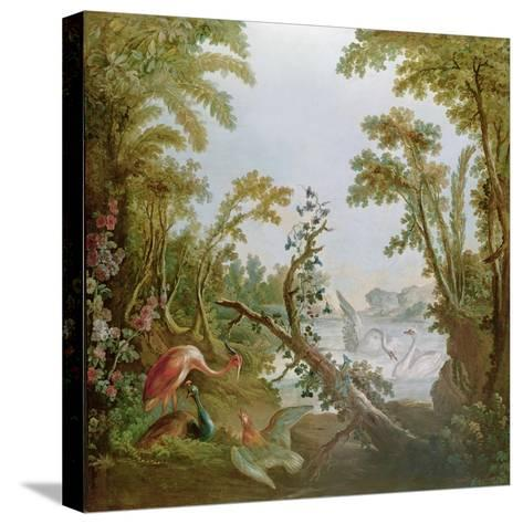 Lake with Swans, a Flamingo and Various Birds, from the Salon of Gilles Demarteau, C.1750-65-Francois Boucher-Stretched Canvas Print