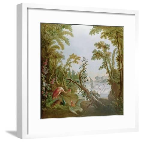 Lake with Swans, a Flamingo and Various Birds, from the Salon of Gilles Demarteau, C.1750-65-Francois Boucher-Framed Art Print