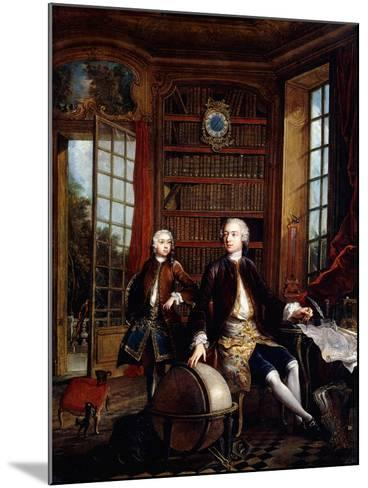 Portrait of the Artist's Son with His Teacher-Jacques De Lajoue-Mounted Giclee Print