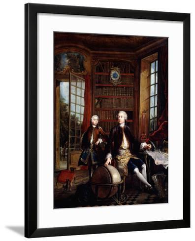 Portrait of the Artist's Son with His Teacher-Jacques De Lajoue-Framed Art Print