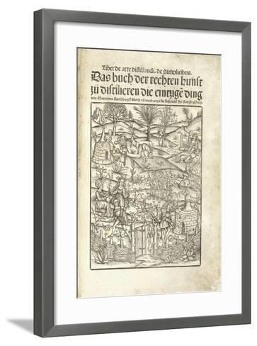 Title Page, Illustrating Herbal Distilleries with Figures in a Landscape, 1500-Hieronymus Brunschwig-Framed Art Print