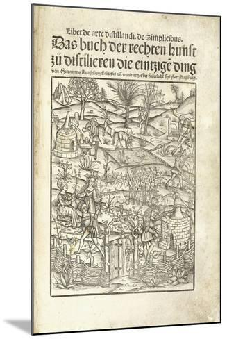 Title Page, Illustrating Herbal Distilleries with Figures in a Landscape, 1500-Hieronymus Brunschwig-Mounted Giclee Print