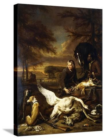 The Spoils of a Hunt with a Hunt Servant and a Black Page Holding a Bay, 1700-Jan Weenix-Stretched Canvas Print