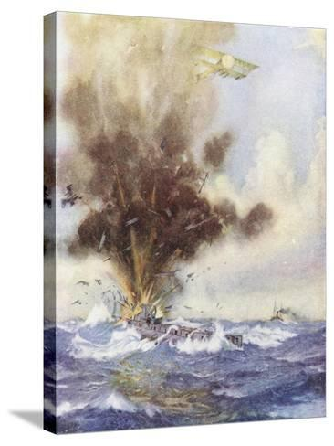 Squadron Leader Arthur Bigsworth Attacks with Bombs a German Submarine-H. G. Swanwick-Stretched Canvas Print