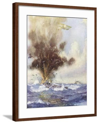 Squadron Leader Arthur Bigsworth Attacks with Bombs a German Submarine-H. G. Swanwick-Framed Art Print