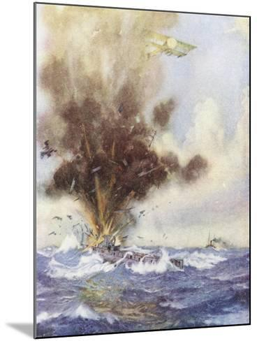 Squadron Leader Arthur Bigsworth Attacks with Bombs a German Submarine-H. G. Swanwick-Mounted Giclee Print