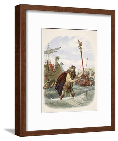 The Roman Standard Bearer of the Tenth Legion Landing in Britain-James William Edmund Doyle-Framed Art Print