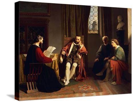 Benedetto Varchi Reading His 'Storia Fiorentina' to Cosimo I-Giuseppe Ciaranfi-Stretched Canvas Print
