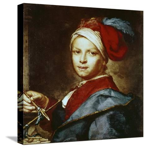 Portrait of a Young Man as a Painter-Giuseppe Ghislandi-Stretched Canvas Print