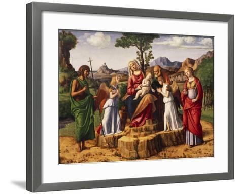 Holy Conversation or Madonna Enthroned with Child-Giovanni Battista Cima Da Conegliano-Framed Art Print
