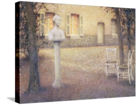 The Bust in the Garden at Twilight; Le Buste Dans Le Jardin Au Crespuscule-Henri Eugene Augustin Le Sidaner-Stretched Canvas Print