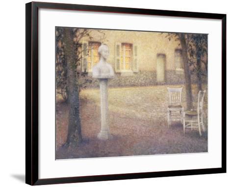 The Bust in the Garden at Twilight; Le Buste Dans Le Jardin Au Crespuscule-Henri Eugene Augustin Le Sidaner-Framed Art Print