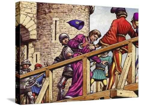 The Dauphin Meets John the Fearless, Duke of Burgundy, on the Bridge across the Seine-Pat Nicolle-Stretched Canvas Print