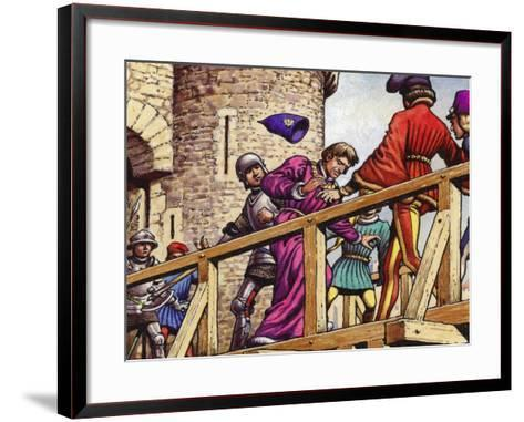 The Dauphin Meets John the Fearless, Duke of Burgundy, on the Bridge across the Seine-Pat Nicolle-Framed Art Print
