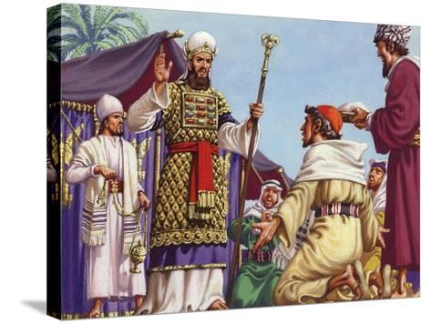 """The Three Wise Men Asking Herod """"Where Is the Babe Who Is Born to Be King of the Jews?""""-Pat Nicolle-Stretched Canvas Print"""