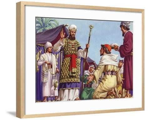 """The Three Wise Men Asking Herod """"Where Is the Babe Who Is Born to Be King of the Jews?""""-Pat Nicolle-Framed Art Print"""