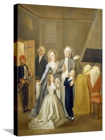 Louis XVI's Farewell to His Family, January 20, 1793-Jean-Jacques Hauer-Stretched Canvas Print